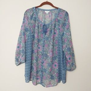 j. jill Blue/Purple Floral Semi Sheer Boho Top. XL